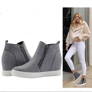 Platform Wedge Sneakers Ankle Zip Booties Gray